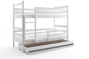 Poschodová posteľ ERIK 2 - 200x90cm - Biela - Grafitová