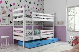 Poschodová posteľ ERIK 2 - 200x90cm - Biela - Modrá