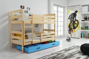 Poschodová posteľ ERIK 2 - 200x90cm - Borovica - Modrá