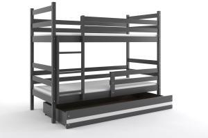 Poschodová posteľ ERIK 2 - 200x90cm - Grafitová - Biela