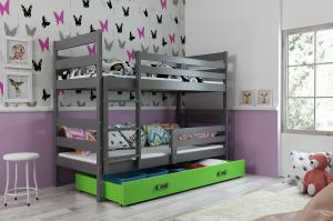 Poschodová posteľ ERIK 2 - 200x90cm - Grafitová - Zelená
