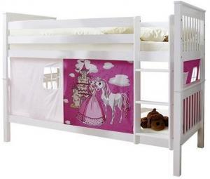 Poschodová Posteľ Koník Ružový Sammy 90x200 Cm Biela