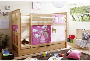 Poschodová Posteľ Koník Ružový Sammy 90x200 Prírodná