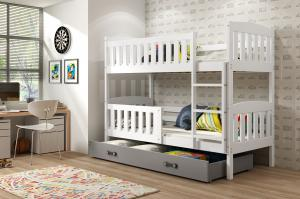 Poschodová posteľ KUBO - 190x80cm - Biela - Grafitová