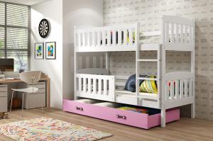 Poschodová posteľ KUBO - 190x80cm - Biela - Ružová