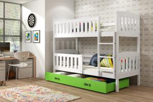 Poschodová posteľ KUBO - 190x80cm - Biela - Zelená