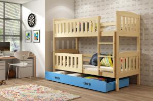 Poschodová posteľ KUBO - 190x80cm - Borovica - Modrá