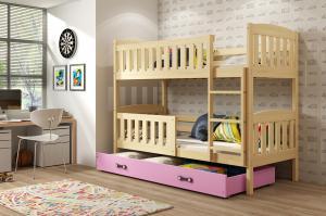 Poschodová posteľ KUBO - 190x80cm - Borovica - Ružová