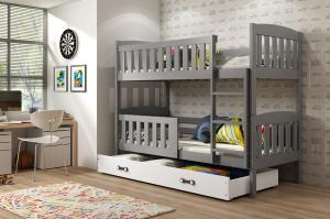 Poschodová posteľ KUBO - 190x80cm - Grafitová - Biela