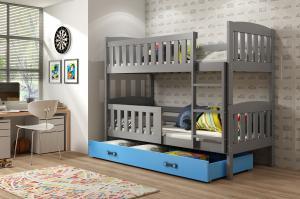 Poschodová posteľ KUBO - 190x80cm - Grafitová - Modrá