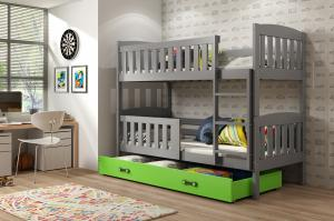 Poschodová posteľ KUBO - 190x80cm - Grafitová - Zelená