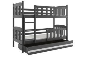 Poschodová posteľ KUBO - 200x90cm - Grafitová - Biela