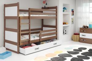 Poschodová posteľ RICO 2 - 190x80cm - Čokoláda - Biela