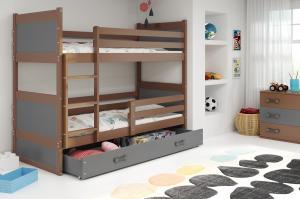 Poschodová posteľ RICO 2 - 190x80cm - Čokoláda - Grafitová