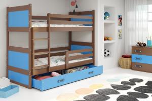 Poschodová posteľ RICO 2 - 190x80cm - Čokoláda - Modrá