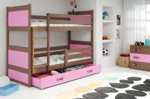Poschodová posteľ RICO 2 - 190x80cm - Čokoláda - Ružová
