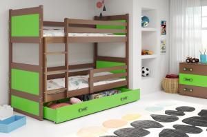 Poschodová posteľ RICO 2 - 190x80cm - Čokoláda - Zelená