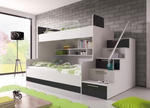 Poschodová posteľ Ruby II (biela + čierna) (s roštami a matracmi)