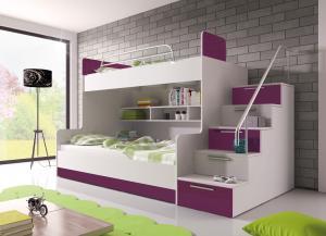 Poschodová posteľ Ruby II (biela + fialová) (s roštami a matracmi)