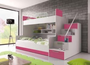Poschodová posteľ Ruby II (biela + ružová) (s roštami a matracmi)