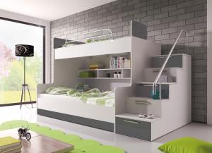 Poschodová posteľ Ruby II (biela + sivá) (s roštami a matracmi)