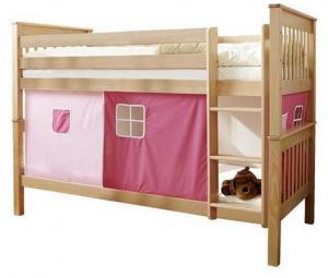 Poschodová Posteľ Ružový Záves Sammy 90x200 Prírodná