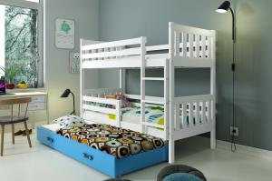 Poschodová posteľ s prístelkou CARINO 3 - 190x80cm - Biela - Modrá