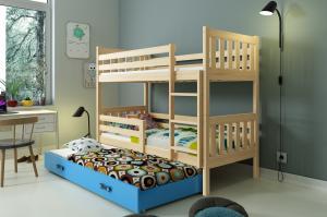 Poschodová posteľ s prístelkou CARINO 3 - 190x80cm - Borovica - Modrá