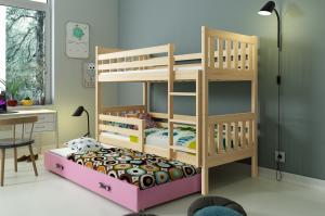 Poschodová posteľ s prístelkou CARINO 3 - 190x80cm - Borovica - Ružová