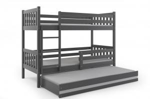 Poschodová posteľ s prístelkou CARINO 3 - 190x80cm - Grafitová - Biela