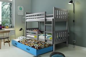 Poschodová posteľ s prístelkou CARINO 3 - 190x80cm - Grafitová - Modrá