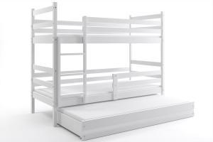 Poschodová posteľ s prístelkou ERIK 3 - 160x80cm - Biela - Biela