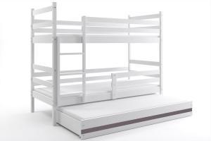 Poschodová posteľ s prístelkou ERIK 3 - 160x80cm - Biela - Grafitová