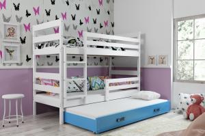 Poschodová posteľ s prístelkou ERIK 3 - 160x80cm - Biela - Modrá