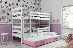 Poschodová posteľ s prístelkou ERIK 3 - 160x80cm - Biela - Ružová