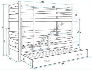 Poschodová posteľ s prístelkou ERIK 3 - 160x80cm - Borovica - Zelená