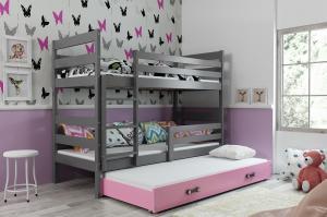 Poschodová posteľ s prístelkou ERIK 3 - 160x80cm - Grafitová - Ružová