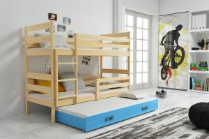 Poschodová posteľ s prístelkou - ERIK 3 - 190x80cm Borovica - Modrý