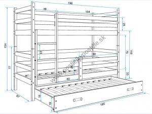 Poschodová posteľ s prístelkou - ERIK 3 - 190x80cm Borovica - Ružový