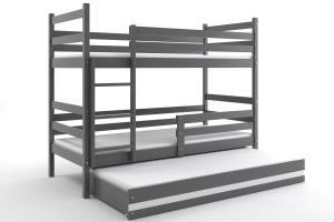 Poschodová posteľ s prístelkou - ERIK 3 - 190x80cm Grafitový - Biely