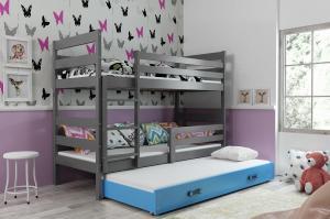 Poschodová posteľ s prístelkou - ERIK 3 - 190x80cm Grafitový - Modrý