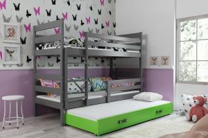 Poschodová posteľ s prístelkou - ERIK 3 - 190x80cm Grafitový - Zelený