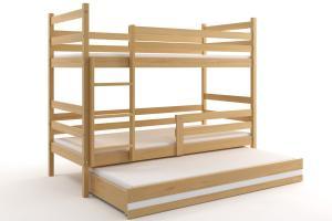 Poschodová posteľ s prístelkou ERIK 3 - 200x90cm Borovica - Biely