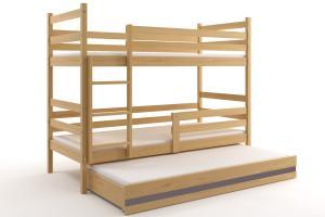 Poschodová posteľ s prístelkou ERIK 3 - 200x90cm Borovica - Grafitový