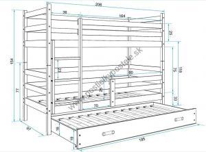 Poschodová posteľ s prístelkou ERIK 3 - 200x90cm Borovica - Ružová