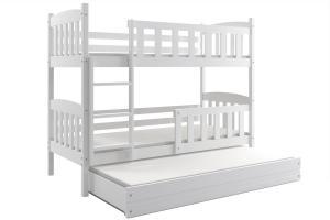 Poschodová posteľ s prístelkou - KUBO 3 - 190x80cm Biela - Biela