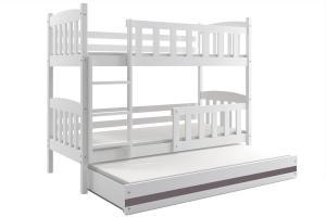 Poschodová posteľ s prístelkou KUBO 3 - 190x80cm Biela - Grafitová