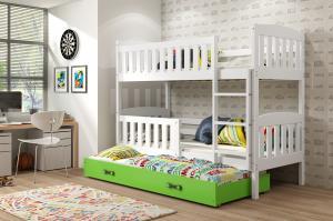 Poschodová posteľ s prístelkou KUBO 3 - 190x80cm Biela - Zelená