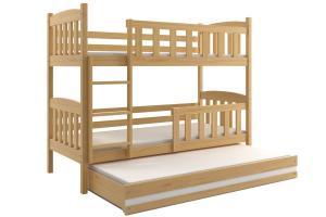 Poschodová posteľ s prístelkou - KUBO 3 - 190x80cm Borovica - Biela