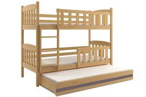 Poschodová posteľ s prístelkou KUBO 3 - 190x80cm Borovica - Grafitová